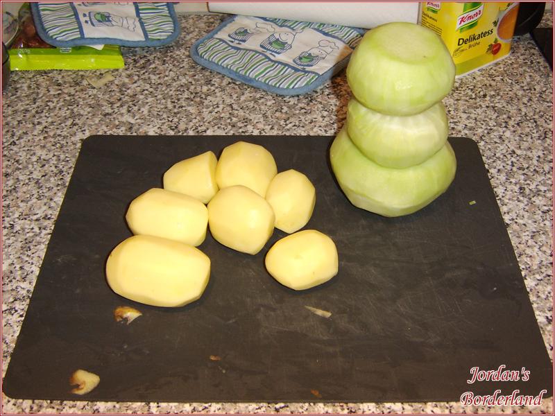 Kartoffel schälen, Kohlrabi schälen, mundgerecht Schneiden